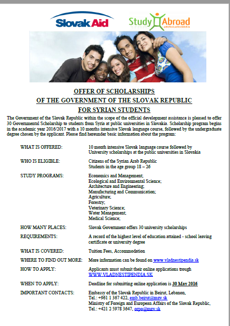Scholarships for Syrian students from the Slovak Republic