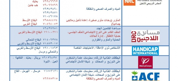 Service directory for organizations in Bekaa
