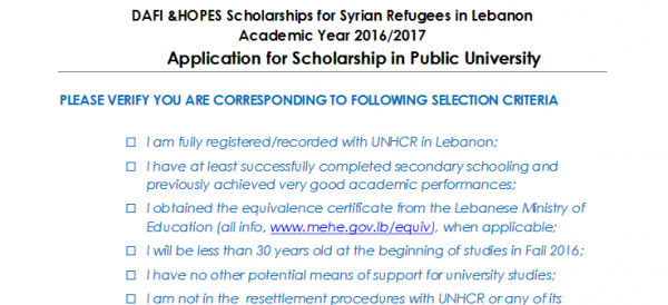 Application for DAFI-HOPES Scholarships for Syrian Refugees in Lebanon Academic Year 2016/2017